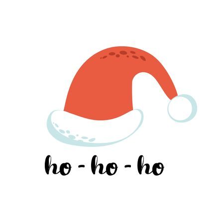 Santa Claus cartoon red hat silhouette in cartoon style isolated on white background Ho ho ho text