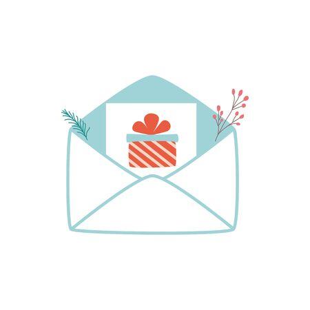 Christmas letter envelope Santa mail template design Letter to Santa Present gift in letter