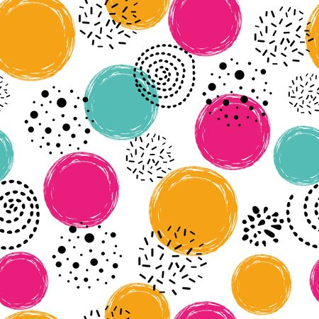 Cute seamless pattern polka dot abstract ornament in orange pink blue black colors hand drawn circles, round shapes Vector illustration for wallpaper, wrap Gold dots, sparkles, shining dots background