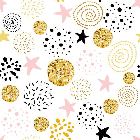 Cute seamless pattern polka dot stars abstract ornament decorated golden, pink, black hand drawn circles, round shapes Vector illustration for wallpaper wrap Gold dots sparkles shining dots background