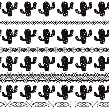 Vector tribal ethnic cactus seamless pattern in black white colors Aztec geometric background. Mexican ornament texture Native american traditional design Folk horizontal geometric print wallpaper.