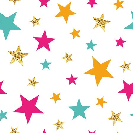 Gold glitter stars seamless pattern Abstract ornament in orange pink blue colors made from bright stars Vector illustration for wallpaper, wrap Golden elements, sparkles, shining white background