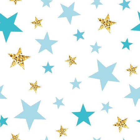 Doodle star seamless pattern background Blue and gold star. Abstract gold glitter stars seamless texture card poster album book fabric t shirt wrapping paper Gold glitter texture Vector illustration. Фото со стока