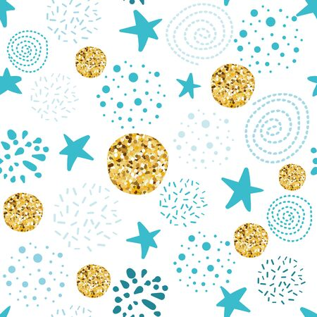 Cute seamless pattern polka dot stars abstract ornament decorated glitter golden blue hand drawn elements. Vector illustration for boy baby shower background Christmas wallpaper Snowy winter paper
