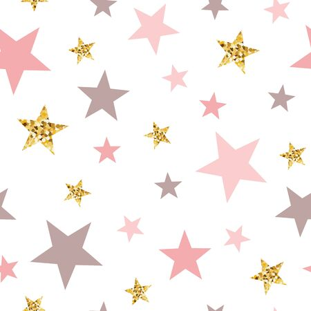 Gold glitter stars seamless pattern Abstract ornament in light pink colors golden bright stars Vector illustration for baby shower template wallpaper Golden elements sparkles shining white background.