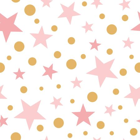 Pink wallpaper for baby girl Gold polka dot pink stars seamless pattern Abstract ornament in light pink colors Vector illustration for baby shower template white background. Fabric textile.