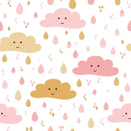 Cute pink seamless pattern background with cartoon clouds drop. For little girls babies clothes, pajamas, baby shower design. Pastel pink gold colors Vector illustration. baby girl wallpaper. Stock Photo