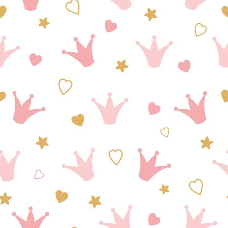 Seamess pattern with doodle crowns and hearts Romantic cute baby print. Little princess design Pink wallpaper for baby girl Vector illustration for children cloth fabric kids pyjamas Pink background.