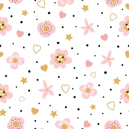 Cute pink floral seamless pattern for kids, baby apparel fabric textile bedding swaddles nightwear sleepwear pajamas Hand drawn flower hearts Vector illustration Wallpaper for little baby girl design.