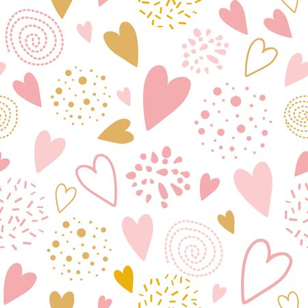 Cute seamless pink pattern with heart shapes ornament decorated hand drawn circles, round shapes Vector illustration for wallpaper, wrap Wedding background St Valentines day template Pyjama print.