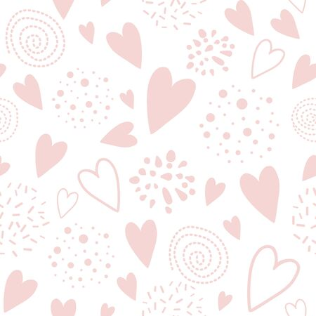 Cute seamless pink pattern with heart shapes ornament decorated hand drawn circles, round shapes Vector illustration for wallpaper, wrap Wedding background Valentines day template Girl pyjama print. Stockfoto