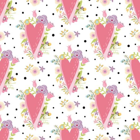 Romantic pink hearts pattern decorated cute flowers. Valentines Day seamless background Love geometric valentine seamless pattern Vector illustration Pink texture Floral design Girl wallpaper.