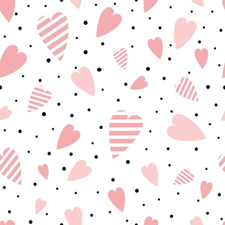 St Valentines seamless pink pattern with heart shapes ornament decorated black polka dot ornament Vector illustration for wallpaper, wrap Wedding background Valentines day template Girly pyjama print. Фото со стока