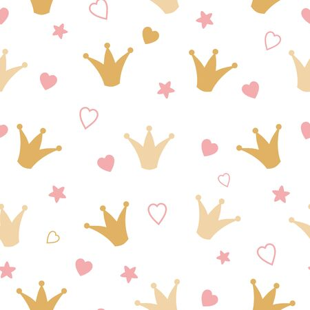 Repeated crowns and hearts drawn by hand. Cute seamless pattern for girls. Sketch, doodle, scribble. Endless girlish print. Girly vector illustration. Romantic girl vector seamless background. Фото со стока