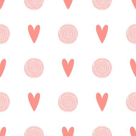 Pink dot pattern heart love seamless background Baby girl simple birthday template Cute fabric design Vector illustration Abstract girly polka dot ornament for wallpaper wrap Pink white colors. Фото со стока