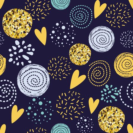 Abstract geometric circle seamless pattern Cute glitter circle glittering hand drawn elements Hearts Simple abstract round shapes background Modern wallpaper wrap Golden dotted Vector illustration. Stok Fotoğraf