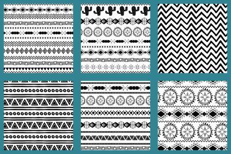 Conception aztèque abstraite de style amérindien motif aztèque ensemble noir et blanc vecteur de texture mexicaine