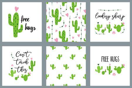 Cactus set Cactus text Seamless patterns Succulents art Cacti floral background Print poster vector Иллюстрация