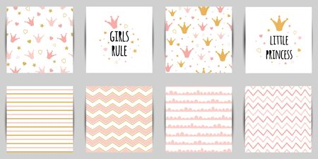 Little princess seamless pattern set in pink golden color queen crown background card Striped Zigzag Иллюстрация