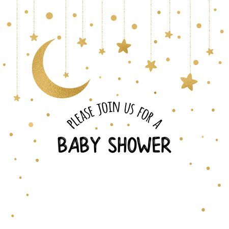Baby Shower Invitation Template with sparkle golden moon, gold stars on white background. Gentle banner for children birthday party, congratulation, invitation. Vector illustration logo, sign, label