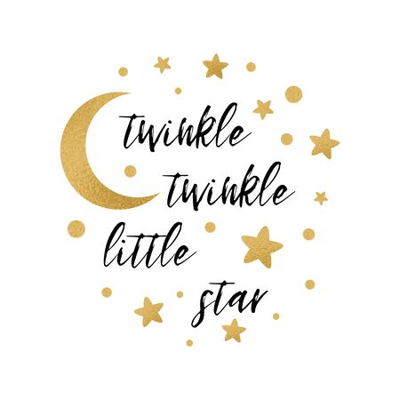 Twinkle twinkle little star text with cute gold star and moon for girl baby shower card template Vector illustration. Banner for children birthday design, logo, label, sign, print. Inspirational quote Reklamní fotografie