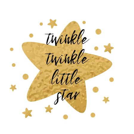 Twinkle twinkle little star text with cute golden stars for girl baby shower card template. Vector illustration. Banner for children birthday design, logo, label, sign, print. Inspirational quote Фото со стока