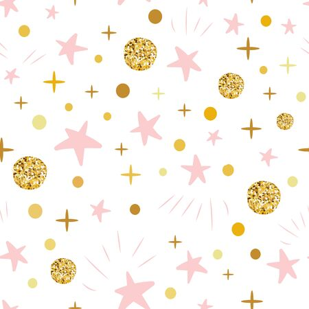 Winter Christmas hand drawn seamless pattern decorated golden snow, pink stars on white. Vector illustration for xmas wallpaper, wrap, fabric, textile or package design. Baby shower background. Фото со стока