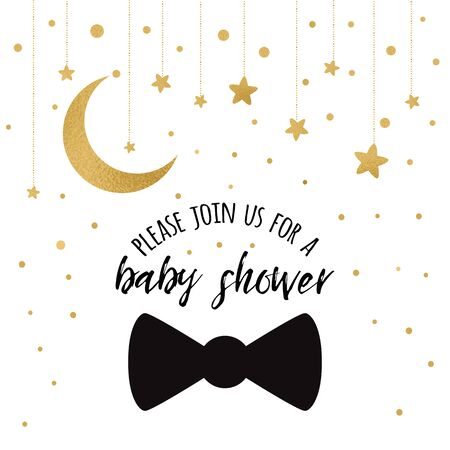Baby Shower Invitation Template with sparkle golden moon, gold stars, gentleman bow tie on white background Gentle banner for children birthday party congratulation invitation Vector illustration logo