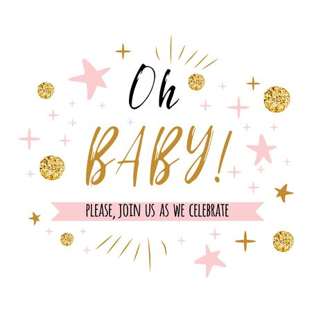 Ggentle Oh baby text with cute gold, pink colors for girl baby shower card invitation template Vector illustration. Banner for children birthday design, label, print, sign, symbol