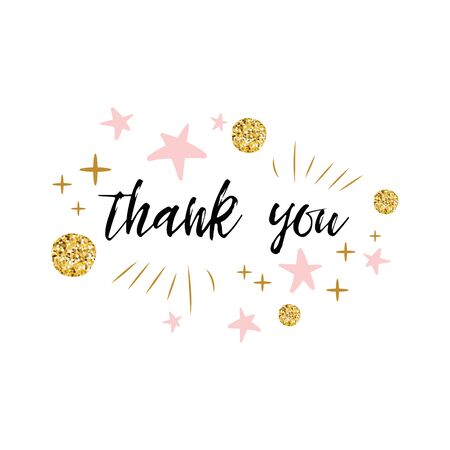 Thank you text with cute gold, pink colors for girl baby shower template Vector illustration. Banner for children birthday print logo, label, sign. Typography design for greeting card, invitation
