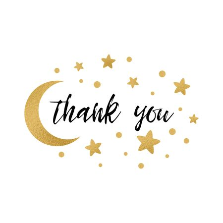 Thank you text with cute gold stars golden moon color for girl baby shower template Vector illustration. Banner for children birthday print, sign. Typography design for greeting card, invitation