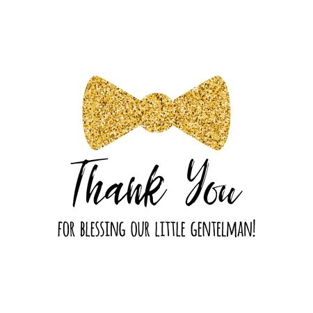 Thank you text gold bow tie butterfly for boy baby shower template Vector illustration. Banner for children birthday print, sign Typography design for greeting card, invitation Little gentleman design