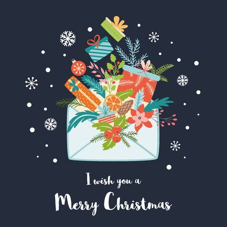 Christmas colorful gift boxes and new year fir branches bouquet Santa letter Hand drawn Merry Christmas envelope full of gifts Big pile of colorful wrapped gift boxes. Isolated vector illustration.