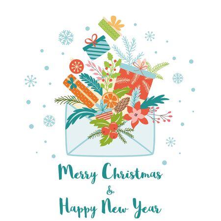 Merry Christmas decorative card banner full of Santa presents gifts Cute concept Santa letter Vector Иллюстрация