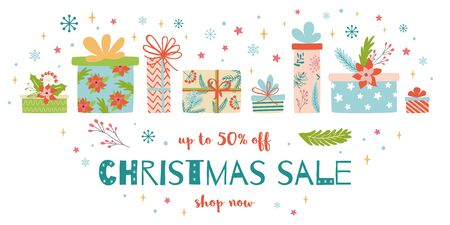Christmas Sale design template Horizontal Sale banner decorated cute hand drawn heap gift boxes. Inscription Christmas Sale Pile Christmas presents on White snowy background Vector Stock Illustration. Иллюстрация