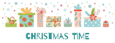 Christmas time horizontal banners presents gift boxes on white background Image Christmas New Year design vector Illusztráció
