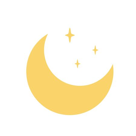 Moon crescent star vector Yellow symbol of Islam flat icon for apps and websites Weather element 向量圖像