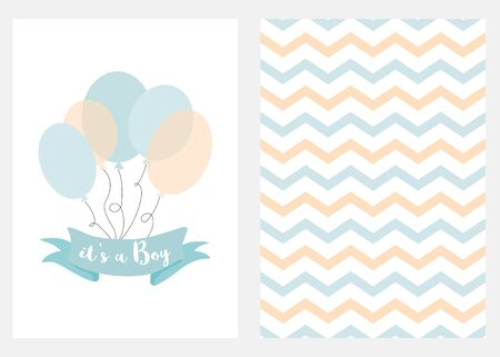 Baby shower invitation for boys Blue balloons ribbon with text Set of 2 cards Blue balloons design elements for baby arrival party Cute zigzag hand drawn background Vector illustration Blue templates.