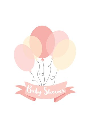 Baby shower text on pink ribbon decorated pink yellow ballons Vector card for baby shower day invitation. Inscription on ribbon: baby shower Bunch of pink balloons Vector cute birthday paty element. Stock fotó