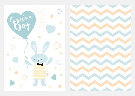 Its a boy Set of blue, white and yellow templates for invitations Rabbit balloon Zigzag background vector Collection of invite cards for party baby shower fathers day wedding birthday Childish style. Stock fotó
