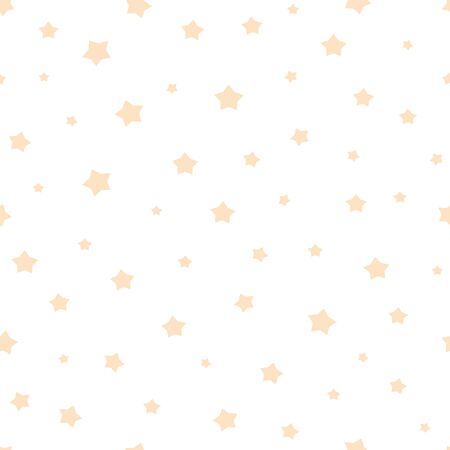 Nursery baby seamless pattern with yellow stars Baby shower seamless pattern Light yellow star on white. Ornament for gift wrapping paper fabric clothes textile surface textures Vector illustration.