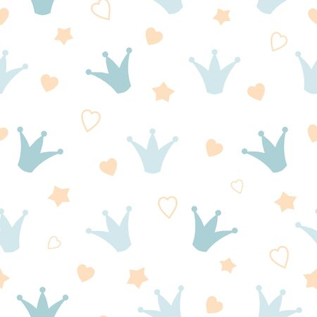Crowns stars seamless baby boy pattern Hand drawn pepeate pattern. Blue white background Colorful childrens backdrop, little prince. Decorative wallpaper, good for printing Vector textile design.