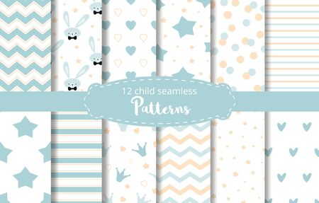 Blue background Set of seamless delicate geometric patterns with stars crowns zig zag ornament rabbit bunny dotted hearts stripes Endless texture for wallpaper web cloth design fabric Baby boy vector. Imagens