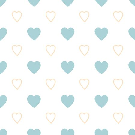 Heart pattern Endless blue romantic simple pattern Seamless texture with blue yellow hearts Template for design textile backgrounds wrapping paper package greeting cards in pastel colors Vector.