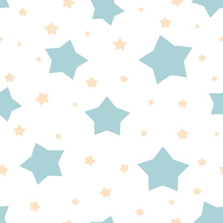 Stars background Seamless abstract pattern with light blue yellow sharp stars on white background. Vector illustration. baby shower textile design Cosmos texture for paper wrapping fabric Magic sky.