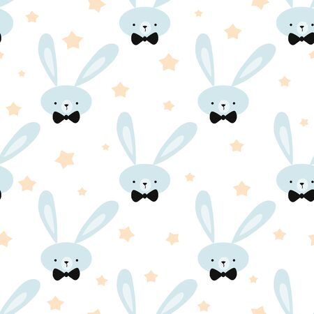 Seamless childish pattern with cute blue bunny yellow stars . Creative hand drawn kids texture for fabric wrapping textile wallpaper apparel Vector illustration Baby shower design Baby boy template.