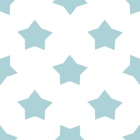Blue seamless star pattern for kids holidays. Pastel colors baby shower background. Cute child drawing style star illustration isolated on white Vector design for print fabric cloth Repeated template. Stock fotó
