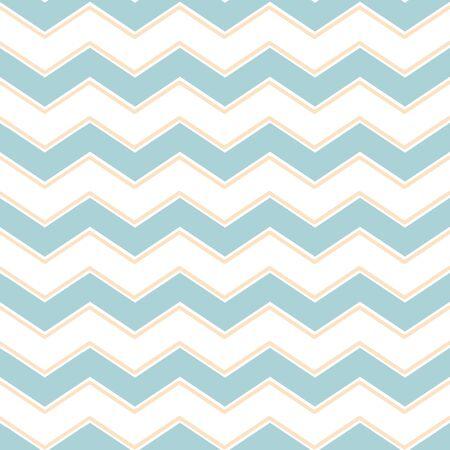 Classic chevron zigzag seamless pattern en light pastel blue yellow colors. Memphis group style Gentle background Baby shower design templete Vector illustration.