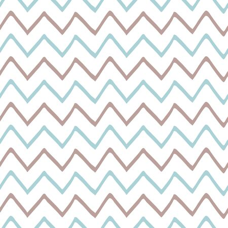 Baby boy blue seamless pattern with zig zag stripes Childish style Cute irregular design Hand drawn simple texture for background fabric cloth baby shower Repeat abstract template Vector illustration. Stock fotó