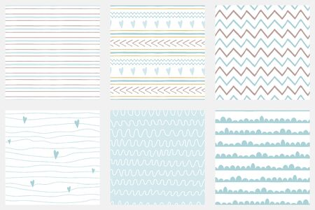 Baby boy shower blue collection Hand drawn seamless pattern set Blue simple textures background fabric cloth Stripes lines zig zag stroke irregular graphic childish design Cute vector illustration. Stock fotó